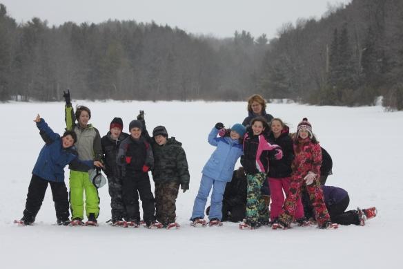 Becket-Washington Elementary School students on the frozen Smith Pond